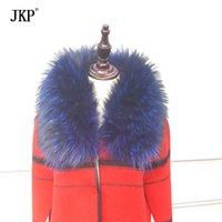 меховые воротники животных оптовых-JKP Подлинная воротник енот меха натурального меха шарф для зимы женщин Warm Темперамент шали и палантины 100% Natural Animal Fur Collar SH190930