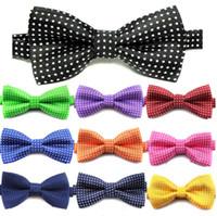 мальчики лук связей оптовых-Дети связывают формального Bow Tie детей классической точки сплошного цвета галстук формальной стороны ребенок мальчик галстуки