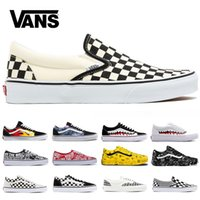 paten ayakkabıları satışları toptan satış-Ucuz Minibüsler Eski Skool Erkek Kadın Tuval Sneakers Siyah Beyaz Kırmızı Mavi Moda Eğitmenler Skate Rahat Ayakkabılar Boyutu 36-44 Online Satış