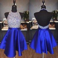 mavi balon toptan satış-2019 Kraliyet Mavi Sparkly Mezuniyet Elbiseleri Line Hater Backless Boncuk Kısa Parti Gelinlik için Balo gelinlik da ballo Custom Made