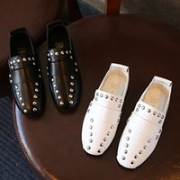 Wholesale child leather loafers online - New Designer Black White Rivets Kids Flat Slip on Loafers Casual Leather Shoes New Hot Children Girls Boys Shoes