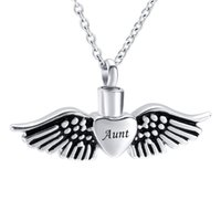Wholesale dad urn necklace for sale - Group buy Angel Wing Cremation Jewelry Urn necklace for Ashes Dad Mom Grandma Stainless Steel Memorial Keepsake Urn Pendant