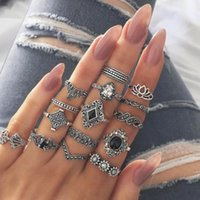 Wholesale vintage sunflowers resale online - Punk Style Retro Vintage Carving Lotus Sunflower Geometric Leaf Charm Bangs Party Finger Joint Rings For Women Fashion Pieces Jewelry Set