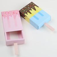 ingrosso scatola del cuore cinese-50 Pz / set Scatole regalo forma gelato Scatole regalo festa di compleanno Cartone animato cassetto regalo per bambini Bomboniera Scatole blu rosa