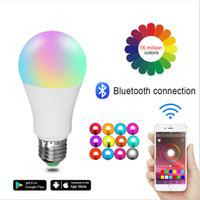 lámparas led al por mayor-Nueva inalámbrica Bluetooth 4.0 Bombilla inteligente hogar de la lámpara de iluminación 10W E27 magia RGB + W LED de luz del cambio del color del bulbo regulable IOS Android