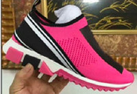 damen-mode-trikots großhandel-D Marke Lux Mode Sorrento Sneaker Herren Designer Schuhe Stoff Stretch Jersey Slip-on Sneaker Lady zweifarbige Gummisohle Freizeitschuhe 38-44