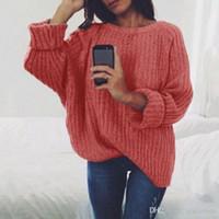 blusas femininas de cor sólida venda por atacado-Inverno Das Mulheres Tricô Camisolas de Malha Jumper de Manga Longa Casaco de Malha Camisola Cor Sólida Pullover Macio Tops