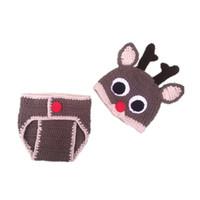 roupas de bebê tricotadas à mão venda por atacado-Frete grátis Vestido de Natal Do Bebê Rena Animal Styling Costume Crianças Fotografadas Roupas de Festa de Feriado Mão-de malha Festivo Sweate