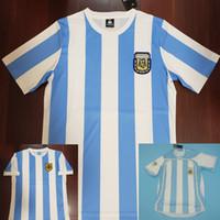 argentinien fußball jerseys großhandel-86 Maradona Soccer Jersey Argentinia Retro Fußball Trikot 1986 Vintage Classic 78 06 Argentinien Maradona 1978 Fußball Trikots Männer Trikot