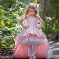 шейные галстуки оптовых-Платья для девочек-цветочниц на свадьбу Jewel Neck с полным рукавом оборками Юбка для малышей театрализованное платье Галстук-бабочка Детская одежда
