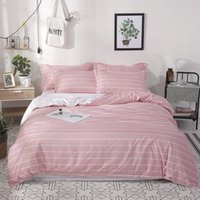 Wholesale cute twin bedding sets resale online - simple cute pink stripes bedding sets linens Twin Single Double Queen Size duvet cover bedsheet pillowcases girls bedclothes