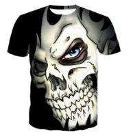 schädelt-shirt frauen groihandel-Neue Mode Herren / Frauen Weiß Schädel Lustige 3D T-shirt Lässige Kurzhülse T-Shirt Sommer Tops ZC061
