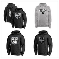 Wholesale man blue hoody for sale - Group buy Men s Los Angeles Kings Branded Hockey Hoodies Black Gray Sport hoody long Sleeve Outdoor wear cheap price Jackets printed Logos