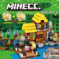 Wholesale farm figures resale online - 300pcs Farm Village Minecraft Compatible My World Set Figure Playmobil Led Light Diy Giftbuilding Blocks Bricks Toys MX190820