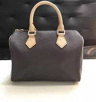bayan fermuarlı çanta toptan satış-Marka Klasik 25 cm şehir çanta lady oxidizing Deri ikonik hızlı çanta fermuar Kilit kayışı kadın çanta tote çanta omuz çantaları m41109 41113