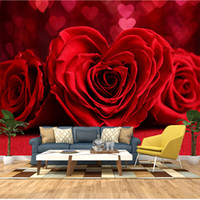 Wholesale romantic paintings for bedroom resale online - Dropship Custom Any Size D Wall Painting Wallpaper Murals Romantic Red Rose Bedroom TV Background Mural Photo Wall Paper For Living Room