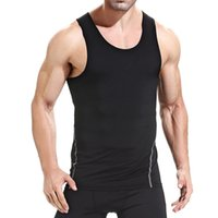 Wholesale elastic men undershirt resale online - Men s Close fitting Vest Fitness Elastic Casual O neck Breathable H Type All Cotton Solid Undershirts Male Tanks