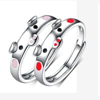 Wholesale piggy jewelry resale online - Epoxy Rings Creative Cute Pink Red Pig Rings Women Men Jewelry Lover s Gifts Popular Lucky Piggy Animal Couple Opening Ring