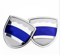 emblèmes volvo achat en gros de-1 paire 39x39mm style de voiture en alliage de zinc autocollant de côté de la voiture badge emblème marque haut Qulity fit pour Volvo Mercede