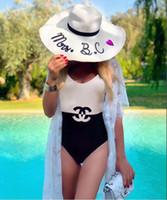 nakış mayoları toptan satış-İleri Teknoloji Tasarım Kadın Yaz Tek Parça Mayo Moda Çift C Harf Nakış Seksi Bikini Plaj Giyim 2 Stiller Ücretsiz Kargo