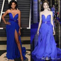zuhair murad mavi kırmızı elbis toptan satış-2019 Couture Kraliyet Mavi Zuhair Murad Abiye Sevgiliye Bölünmüş Balo Abiye Sweep Tren Kırmızı Halı Abiye Özel Boyut