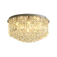 ingrosso cristalli di lampade a soffitto-Lampadari moderni a soffitto rotondi in cristallo Lampadari in cristallo a piastra cromata illuminazione plafoniere a led per soggiorno camera da letto