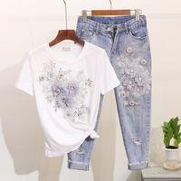 ingrosso donne in cotone in cotone sequined-T-shirt in cotone con fiore 3D con perline con paillettes Amolapha + Pantaloni con maniche lunghe in jeans per donna