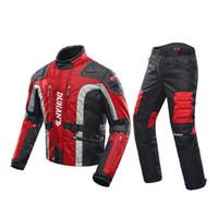 pantalones de carreras de moto al por mayor-Hombres de la chaqueta de la motocicleta + pantalones protector de la motocicleta a prueba de viento ropa de algodón forro protector Gear Racing Moto chaqueta de los chándales M-2XL