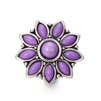 stücke stein großhandel-Glass Satellite Stone Blume Noosa Chunks Metall Ingwer 18mm Druckknöpfe für Armband Schmuckzubehör