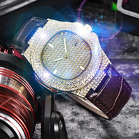a1 мода оптовых-Bling Watch Men's Quartz Complete Water Diamond Watch Ice Gold Silver  Casual Fashion Sports Outdoor Running Gift A1
