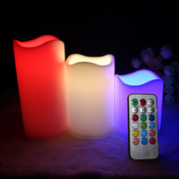 Wholesale flameless candles sale online - Hot Sale pc LED Flameless Candles quot quot quot Pillar Color Changing Remote Glow Wedding Home Bar table Décor LED Candle