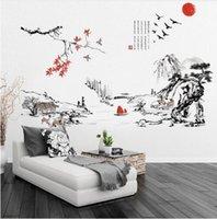 chinesische kalligraphie wand kunst großhandel-Chinesische Landschaft Berg-Fluss Tuschmalerei Kalligraphie Wandtattoo Home Wallpaper Poster Kunst Wohnzimmer Wand Graphic100x130cm