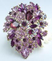 Wholesale purple crystal flower brooch pin resale online - Classic quot Purple Austrian Crystal Flower Leaf Brooch Pin Pendant EE03905C6