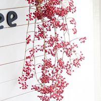Wholesale artificial fruit for home decor resale online - 88CM Artificial Red Beans Fruits Vine Fake Flowers Rattan for Wedding Party Decor Home Garden Decoration Arcitifial Plants