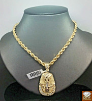 Wholesale pharaoh chain pendant for sale - Group buy REAL k Inch Rope Chain Necklace inch Pharaoh Head Charm Pendant N