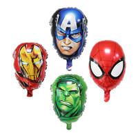 надувные шарики оптовых-Мстители Фольгированные шары Супер герой Халк человек Капитан Америка Железный человек-паук Детские классические игрушки Гелиевый шар для детей игрушки