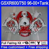 gsxr обтекатели оптовых-Кузов + бак для SUZUKI SRAD GSXR 750 600 GSXR600 96 97 98 99 00 291HM.0 GSXR-600 gsxr750 1996 1997 1998 1999 2000 обтекатели Lucky Strike Красный