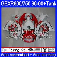 tanques suzuki al por mayor-Cuerpo + tanque para SUZUKI SRAD GSXR 750 600 GSXR600 96 97 98 99 00 291HM.0 GSXR-600 GSXR750 1996 1997 1998 1999 2000 Carenados Lucky Strike Rojo