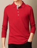 ingrosso manica lunga manica polo uomo-Regalo Classic Uomo London Brit Casual Camicie maniche lunghe Solid Cotton Cotton Polo Top Bianco Nero Blu Rosso 1123