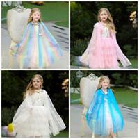 Wholesale costume cloaks capes resale online - Children Shawl Cloaks Pure Colors Girl Beautiful Cape Costume Kids Party Clothes Fit Dancing Parties Hot Sale bj E1