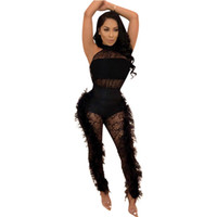 Wholesale see through catsuit for sale - Group buy Black White Jumpsuit See Through Jumpsuit Bodycon Studded Feather Lace Jumpsuit Sexy Catsuit Lace Erotic Turtleneck Tight Skinny Playsuit