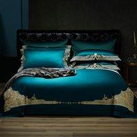 ingrosso copripiumini leggeri-New 1000TC Cotone egiziano Royal Luxury Set biancheria da letto King Queen Size Ricamo Letto set Copripiumino Lenzuolo parrure de lit