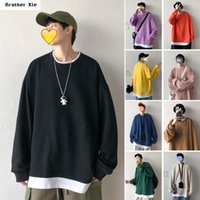Wholesale round color paper for sale - Group buy round neck patchwork mens hoodies False Two Paper Solid Color Male Loose Tide Lovers Joker Loose Coat hoodie sweatshirts men