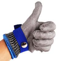 malla de guantes de carnicero al por mayor-Acero inoxidable Malla metálica Carnicero Seguridad Resistente a cortes Puñalada Resistente a guantes Tamaño M Alto rendimiento Nivel de protección 5