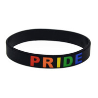 bracelets charmes achat en gros de-DHL Mode Gay Pride Bracelet Bijoux Charm Arc-En-Fierté Bracelet Silicone Bracelets Lesbian Bracelet Bracelet cadeau de fête