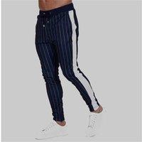 ingrosso joggers ansia magro-New Uomo Slim Fit Joggers Uomo Sportwear Skinny Slim Fit Jogger Pantaloni da felpa Pantaloni a righe