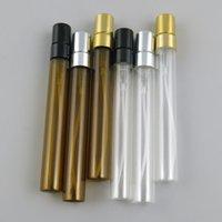pulverizador mini atomizador al por mayor-10 ml Viaje Mini botella de perfume de vidrio de ámbar con rociador de aluminio 10cc Claro recargable Perfume atomizador Botella de fragancia