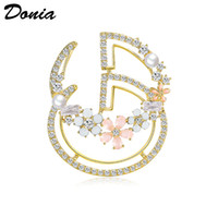 Wholesale Donia jewelry European and American popular letter Brooch copper micro inlaid zircon Brooch gift Brooch Christmas coat scarf accessories