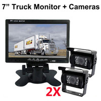 Wholesale front view camera waterproof online - 7 inch HD Truck Monitor Car Monitor With Front Back Waterproof Rear View Camera for V Truck Caravan Bus Harvester