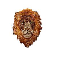 remendo de ferro do leão venda por atacado-7 CM Cabeça de Leão Marrom Besta Bordado Patches Costurar Ferro Emblemas Para o Vestido Saco de Jeans Chapéu T Shirt DIY Apliques de Decoração Artesanato